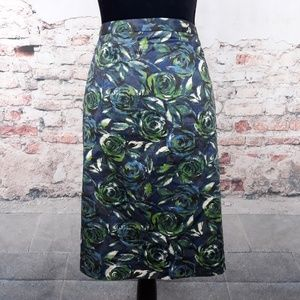 Ann Taylor Loft Skirt 8 Floral Blue Green Skirt